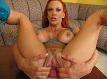 Shannon inserting a giant brutal dildo