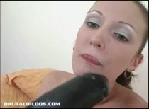 Skinny Hailey stuffing her snatch with a big brutal dildo