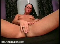 Carmen gaping her pussy with huge dildos