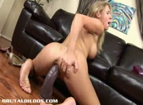 Allison riding two monster brutal dildos
